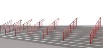 与扶手栏杆的楼梯对白色的无处 皇族释放例证