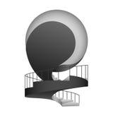 与扶手栏杆设计的黑白圆楼梯 向量例证