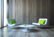 与扶手椅子和咖啡桌的现代内部 免版税库存图片