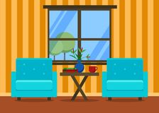 与扶手椅子的客厅内部 拉长的家具现有量例证集合白色 家庭设计 网站的,介绍现代平的例证 皇族释放例证