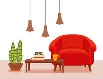 与扶手椅子盆的植物的内部,落地灯 免版税库存图片