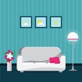 与扶手椅子,窗口的蓝色客厅内部 拉长的家具现有量例证集合白色 免版税图库摄影