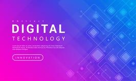 与技术线光线影响,抽象技术的数字技术横幅桃红色蓝色背景概念 皇族释放例证