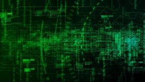 与技术齿轮的高科技数字式抽象背景 免版税图库摄影
