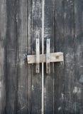 与把柄和锁的木门 免版税库存照片
