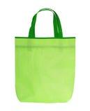 与把柄的绿色购物袋在白色背景 图库摄影