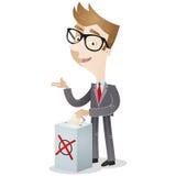 与投票箱的投票的商人 免版税图库摄影