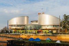 与抗议者帐篷的欧洲人权法院 库存照片