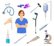 与护士和医疗equpment动画片象,传染媒介例证的医疗保健集合 免版税库存照片