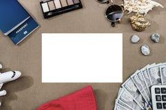 与护照、美元、计算器、玩具飞机和玻璃的旅行概念 免版税图库摄影