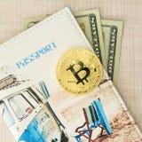 与护照盖子和美元的Bitcoin金黄硬币金钱 复制文本的在木背景,方形的图片spase 图库摄影