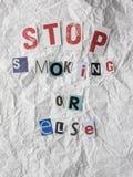 与抽烟文本的中止的赎金票据或者 库存照片