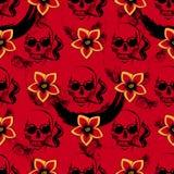 与抽烟的头骨和黄色花的红色无缝的样式 库存例证
