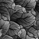 与抽象乱画叶子的减速火箭的无缝的样式 免版税图库摄影