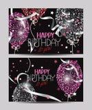 与抽象五颜六色的气球的传染媒介卡片 免版税图库摄影