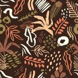 与抽象五颜六色的油漆污点,污点,在黑暗的背景的杂文的布朗无缝的样式 抽象艺术性 库存例证