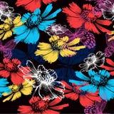与抽象五颜六色的花的无缝的样式 免版税图库摄影