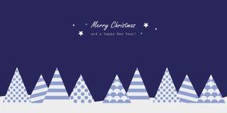 与抽象冷杉的圣诞快乐蓝色贺卡 库存例证