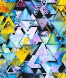 与抽象几何三角的无缝的样式按混乱顺序 皇族释放例证