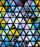 与抽象几何三角的无缝的样式,蜂蜂窝 库存例证
