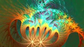 与抽象卷螺旋形状的分数维背景 高详细的圈 股票视频