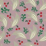 与抽象叶子和生动的樱桃的传染媒介无缝的样式 皇族释放例证