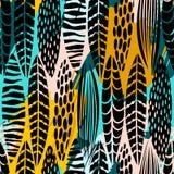 与抽象叶子的部族无缝的样式 手凹道纹理 库存例证
