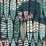 与抽象叶子的部族无缝的样式 手凹道纹理 皇族释放例证