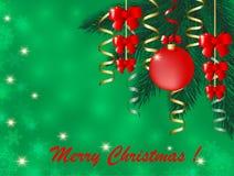 与抽象圣诞树的圣诞卡和与冷杉的红色bowGreeting的卡片分支与圣诞节球和一块红色欢乐肋骨 库存例证