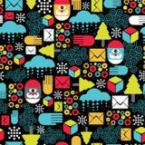 与抽象圣诞老人的无缝的样式。 库存照片