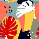 与抽象形状和热带叶子的无缝的样式 在拼贴画样式的时髦艺术 皇族释放例证