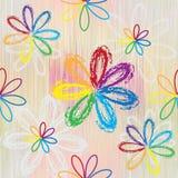 与抽象彩虹花的无缝的样式 免版税库存照片