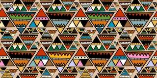 与抽象无缝的样式五颜六色的时髦颜色的三角部族主题时尚纺织品印刷品传染媒介例证的 库存例证
