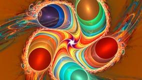 与抽象明亮的泡影的分数维背景 高详细的圈 皇族释放例证