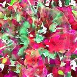 与抽象条纹、小点和绘画的技巧的水彩无缝的样式 库存照片