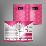 与抽象样式的传染媒介桃红色小册子模板设计 皇族释放例证