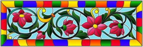 与抽象桃红色花的彩色玻璃例证在明亮的框架的蓝色背景 免版税库存图片