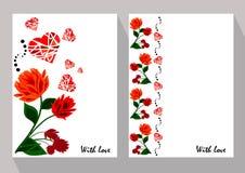 与抽象橙色和红色花的贺卡在种族st 免版税库存照片