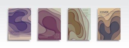 与抽象波浪的最小的传染媒介封面设计集合 库存照片