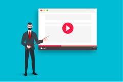 与抽象浏览器和企业教练的网上教育例证在图象播放机附近 平的传染媒介概念 免版税库存照片