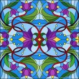 与抽象漩涡、紫色花和叶子的彩色玻璃例证在蓝色背景 向量例证