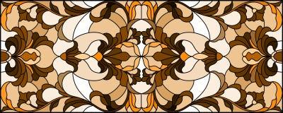 与抽象漩涡、花和叶子的彩色玻璃例证在轻的背景,水平的取向,乌贼属 库存例证