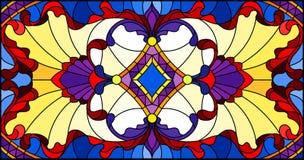 与抽象漩涡、花和叶子的彩色玻璃例证在黄色背景,水平的取向 皇族释放例证