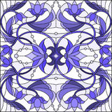 与抽象漩涡、花和叶子的彩色玻璃例证在轻的背景,伽玛蓝色 皇族释放例证