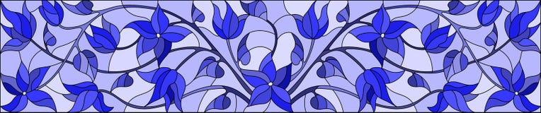 与抽象漩涡、花和叶子的彩色玻璃例证在轻的背景,水平的取向,伽玛蓝色 向量例证