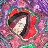与抽象爱样式的蜡染布头巾 库存图片