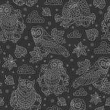 与抽象猫头鹰、叶子和花,在黑暗的背景的轻的概述例证的无缝的例证 皇族释放例证