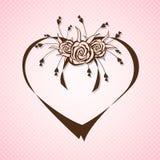 与抽象玫瑰的丝带心脏 库存图片