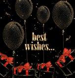 与抽象礼物盒、气球和红色丝绸弓的假日背景 库存图片