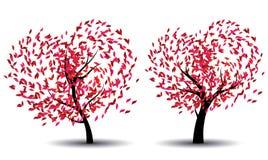 与抽象红色叶子的树 免版税库存图片